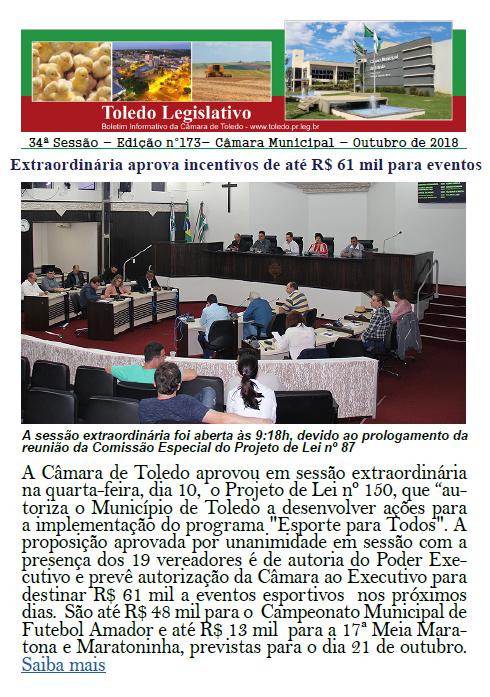 Boletim traz R$ 61 mil a eventos, Constituição de 88 e Bombeiros