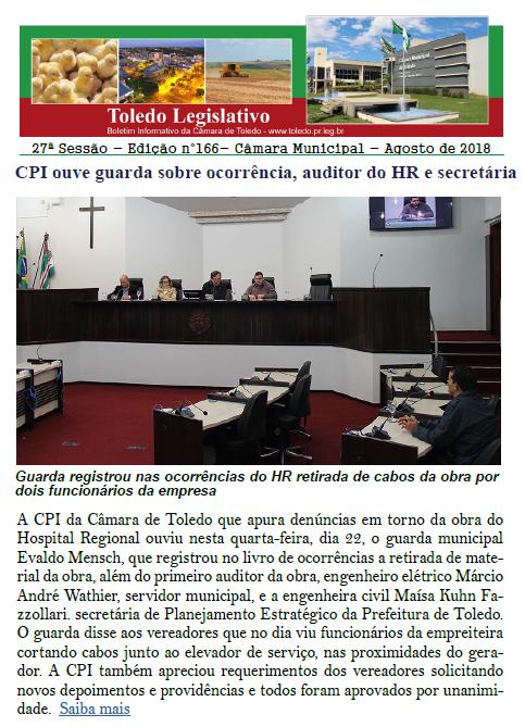 Boletim traz CPI, convênios, LDO e moções a atletas e empresa